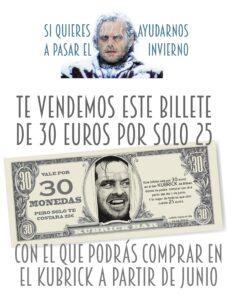 cartel bono 30 monedas KUBRICK BAR BILBAO